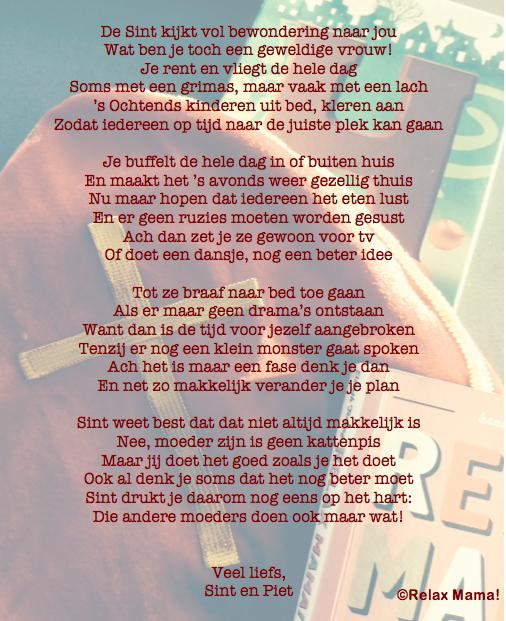 Sinterklaasgedicht relax mama 2014